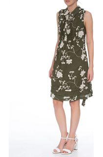 Crinkle Embroidered Sleeveless Dress - Green