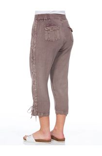 Anna Rose Washed Cropped Trousers - Beige