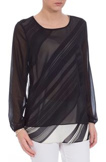 Double Layer Monochrome Stripe Chiffon Top