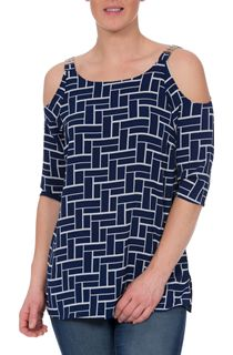 Tile Printed Cold Shoulder Top