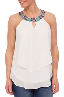 Embroidered Sleeveless Layered Georgette Top