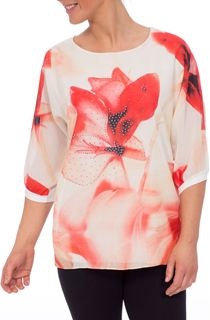 Embellished Floral Chiffon And Jersey Top