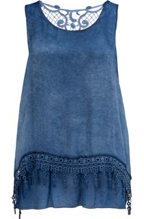 Sleeveless Layered Lace Trim Top - Blue