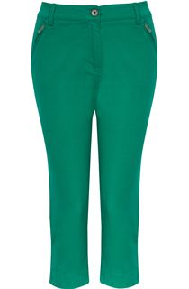 Cropped Stretch Jeans - Green