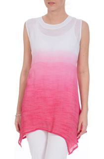Sleeveless Ombre Dipped Hem Tunic - White/Strawberry