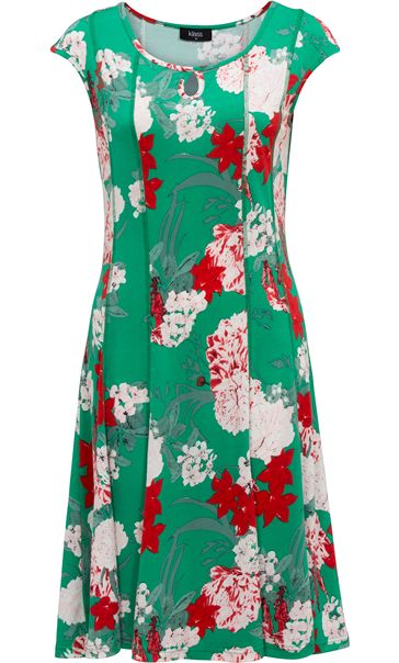 Printed Panelled Jersey Midi Dress