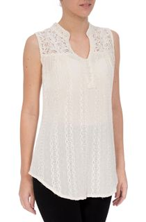 Sleeveless Crochet Trim Top