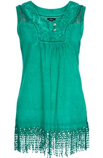 Washed Sleeveless Tassel Tunic