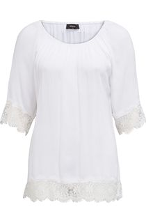 Lace Trim Three Quarter Sleeve Crinkle Top