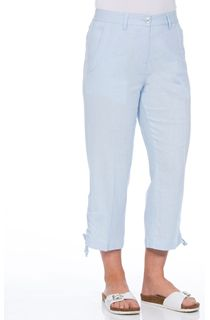 Anna Rose Linen Blend Cropped Trousers - Sky