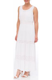 Sleeveless Lace Trim Maxi Dress