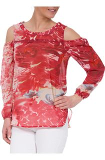 Printed Chiffon Cold Shoulder Top