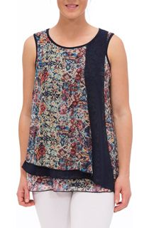 Sleeveless Chiffon Layered Jersey Top