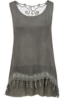 Sleeveless Layered Lace Trim Top - Green