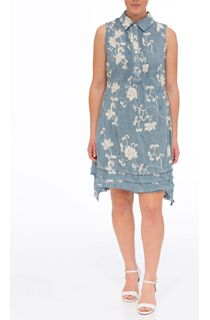 Crinkle Embroidered Sleeveless Dress - Denim