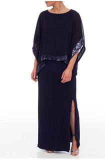 Embellished Chiffon Layer Maxi Dress