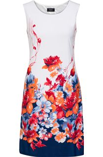 Floral Border Printed Sleeveless Midi Dress