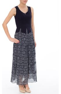 Sleeveless Jersey And Printed Georgette Maxi Dress