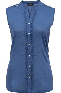 Sleeveless Cotton Button Top